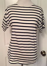 Saint James For JCrew Crewcuts Tee Sz 16 Navy Blue Ivory Striped Sz S/M Ladies