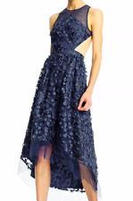 High Low Dress Aidan Mattox Flower Embroidered Cutout Mesh Sleeveless Blue Sz 10