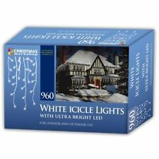 Christmas Workshop Bright White 960 LED Icicle Xmas Lights Indoor and Outdoor