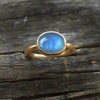 Blue Fire Rainbow Moonstone 14K Yellow Gold Handmade Gift Size 7 Ring