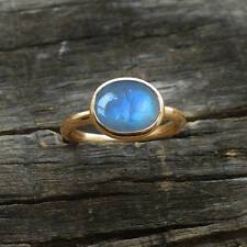 Blue Fire Rainbow Moonstone 14K Yellow Gold Handmade Gift Size 7 Ring