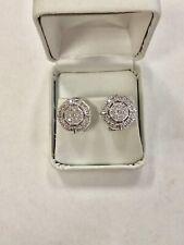3/4 ctw Genuine Champagne Diamonds Heavy 18k White Gold Cluster Earrings Omega