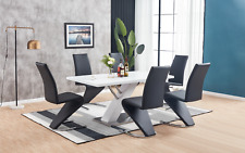 MEDICI White High Gloss Chrome Dining Table Set and 6 Leather Chairs Seat