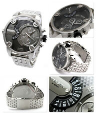 NEW DIESEL LITTLE DADDY SILVER TONE,S/STEEL,DUAL TIME,CHRONOGRAPH WATCH-DZ7259