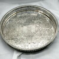 VINTAGE ROUND CHASED GALLERY BUTLERS SERVING TRAY SILVER PLATED PLATE