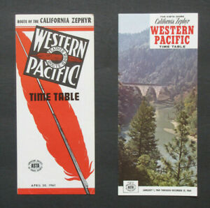 WP WESTERN PACIFIC CALIFORNIA ZEPHYR Lot of 2 System Timetables from the 1960's