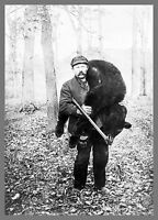 "Old Time Photo, 1909, Bear Hunting, Hunter, 14""x10"" Hunt, Rifle, antique sport"