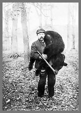 """Old Time Photo, 1909, Bear Hunting, Hunter, 14""""x10"""" Hunt, Rifle, antique sport"""