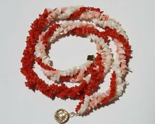 ANTIQUE  14K GF UNDYED QUALITY ANGLE SKIN & ITALIAN SARDINIA RED CORAL NECKLACE