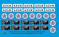 """[FFSMC Productions] 0 scale - 1/43 Decals pour Wagon-Citerne """"AZUR"""" Hornby"""