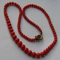 Antique Small Natural Red pink Coral Baby Necklace Yellow clasp