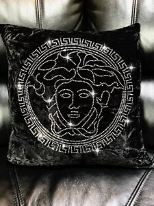 ☘️Versace Inspired  Medusa Face Crush Velvet Cushion Cover Black  Designer