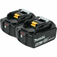 MAKITA 18V LXT 5.0Ah LITHIUM-ION BATTERY GENUINE 2-PACK BL1850B-2 NEW