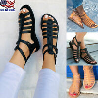 US Womens T-Strap Thong Flat Shoes Summer Gladiators Straps Hollow Sandals Shoes