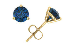 Natural 1.50Ctw Round Blue Diamond Martini Stud Earrings 14k Yellow Gold Prong