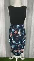 Closet Black Navy Floral 2-in-1 Pleated Pencil Occasion Dress Size UK 14