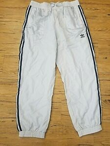Mens ADIDAS Size Large (33 X 28) Track Suit Bottoms Joggers Mesh Lined Gray