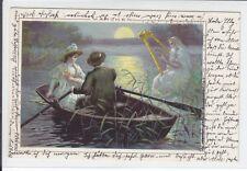 AK Märchen-Karte, Harfenspieler, Paar im Boot, 1900