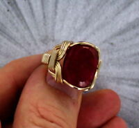 RUBY GEMSTONE RING 14kt. ROLLED GOLD  SIZE 5 TO 15 WIRE WRAPPED