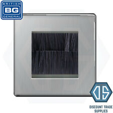 More details for bg screwless brushed steel satin chrome single 2 gang brush cable wall plate tv