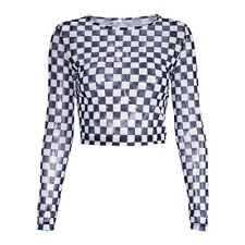 Sexy Women Black White Long Sleeve Check Checkerboard Sheer Mesh Crop Top S,M,L