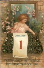 New Year - Little Girl on Balcony Flowers etc c1910 Postcard