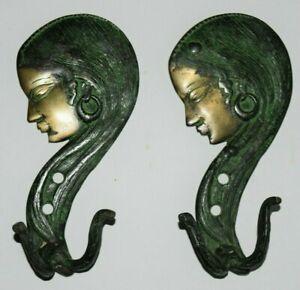Brass Girl Wall Hook Pair Of Hooks Women Side Face Handmade Cloth Hanger EK103