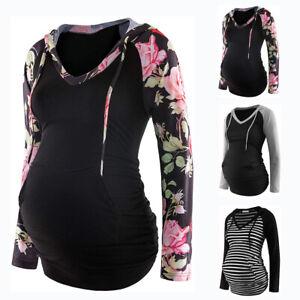 Women's Pregnant Maternity Hoodie Tops Shirt Long Sleeve Sweatershirt Pullover