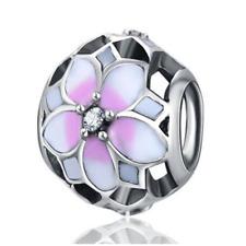 1pcs Silver Flower European Charm Crystal Spacer Beads Fit Necklace Bracelet DIY