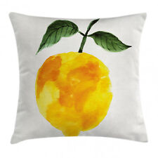 Yellow Throw Pillow Case Watercolor Lemon Organic Square Cushion Cover 16 Inches
