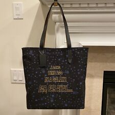 NWT Coach X F88038 Star Wars TOTE Bag Canvas Black Starry And Scroll Print $298