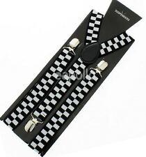 Unisex Fancy Dress Braces Black & White Check Checkered Pattern Brand New