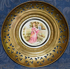 "M.Langbroek Bone China Plate ""Lady in Pink"" in Brass, Regency Made in England"