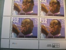 PLATE BLOCK OF LOUIS ARMSTRONG 32 CENT USA STAMPS 1995, SCOTT #2982, MNH, NEW