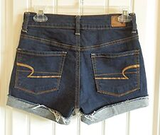 American Eagle AEO Womens Stretch High Rise Blue Jean Shorts SZ 2 EXCELLENT