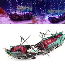 Aquarium Ornament Wreck Sailing Boat Sunk Ship Destroyer Fish Tank Cave Decor S5