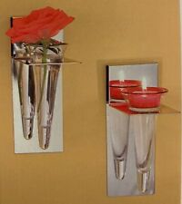 PARTYLITE Modern Silver Sconce, Pair, glass & chrome sconces, New