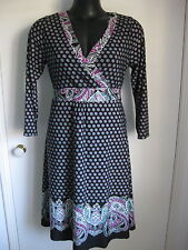 SIZE 14 SMART FLATTERING BLACK PRINT TIE BACK DRESS WITH CROSS OVER CHEST