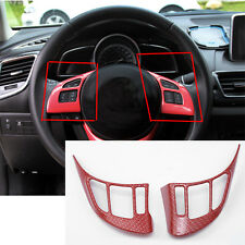 2x Red Chrome Steering wheel Cover Trim For Mazda 3 AXELA 2014-2016