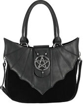 fdc145e4ee0e01 Restyle Ominous Bat Wing Pentagram Gothic Punk Faux Leather Vinyl Handbag  Purse