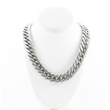 SOLID STAINLESS STEEL SILVER FINISH THICK HEAVY MIAMI CUBAN LINK CHAIN 21MM 36''