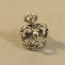 .925 Sterling Silver 3-D KINGS CROWN CHARM NEW Royalty Queen Pendant 925 DU65