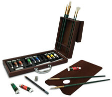 Artist Premier Deluxe Oil Colour Paint & Brushes Wooden Box Travel Painting Set