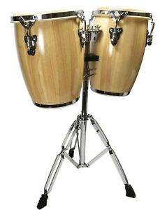 """NATURAL CONGA DRUM SET - 9"""" and 10"""" inch HEADS + STAND"""