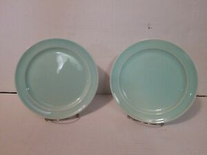 "Luray Pastels Lu-Ray USA Surf Green Luncheon Plates 9"" LOT OF 2"