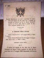 DECRETO MINISTERIALE AUMENTA EMISSIONE BIGLIETTI  DA 10 LIRE BANCA NAZIONALE