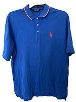 Ralph Lauren Polo Golf Men Blue Polo Shirt Red Pony Sz Large