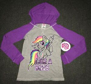 NWT My Little Pony Heather Gray & Purple Hooded Graphic T-shirt Rainbow Dash 7/8