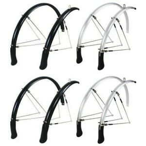 KranX New Bicycle Full Length Mudguard Set for 700cx35,45,55mm Black & Silver
