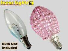 Chandelier Glass Beads Light Candle Bulb Cover Shade Crystals Drops Vintage Pink